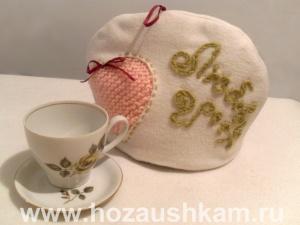 Вязаная грелка на чайник Петушок 8